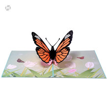 HEART MOON Butterflies Cards laser 3D Cut Paper Pop Up Butterfly Card With Envelope Invitations Greeting thank you Invitation(China)