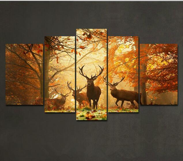 24168d6ca35 5 Panels Brown 5 Panel Wall Art Painting Deer In Autumn Forest Pictures  Prints On Canvas Animal The Picture Decor Oil For