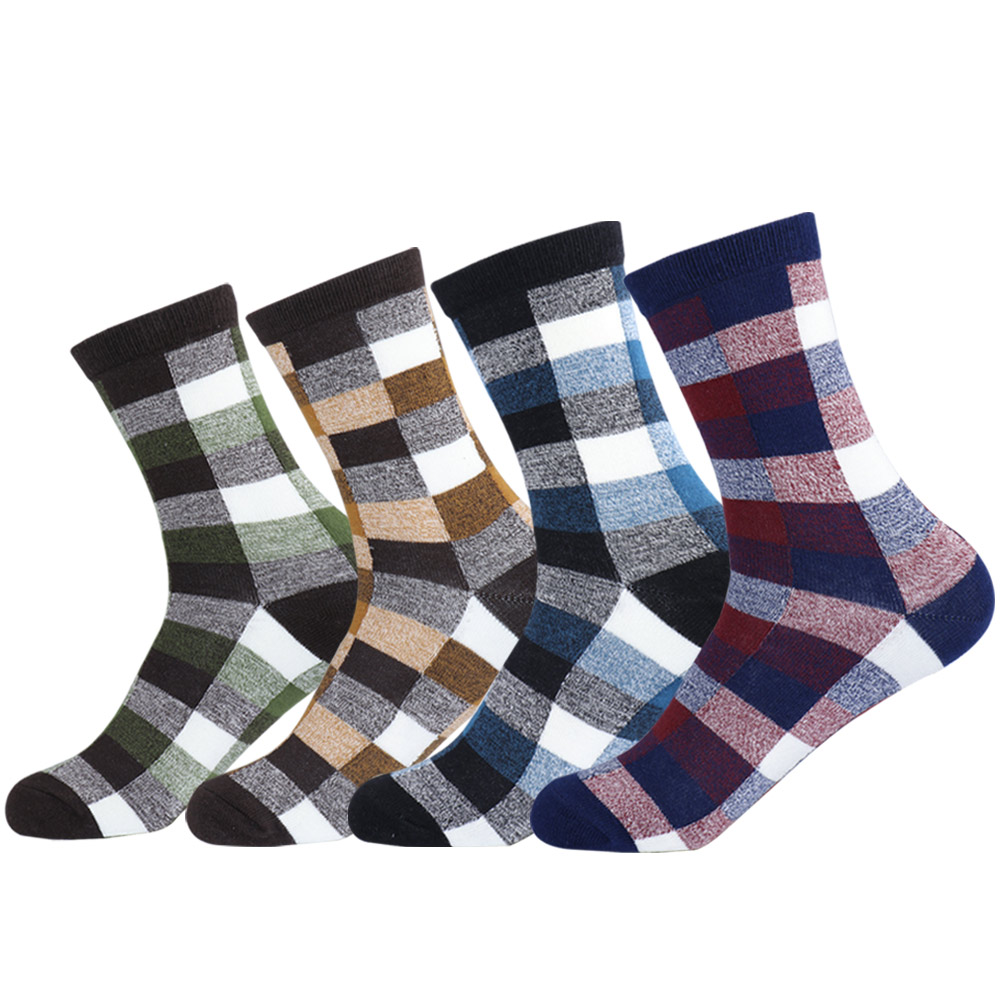 Men Daily Comb Cotton Dress Socks Vintage Mens Colorful England Checks Grid Plaid Casual Crew Sock