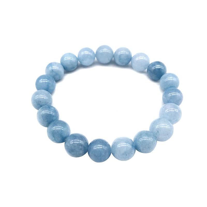 Naturalna bransoletka Aquamari pojedynczy kryształ elastyczny romantyczny kryształ joga niebieska bransoletka kobieta biżuteria 4,6, 8,10, 12mm koraliki
