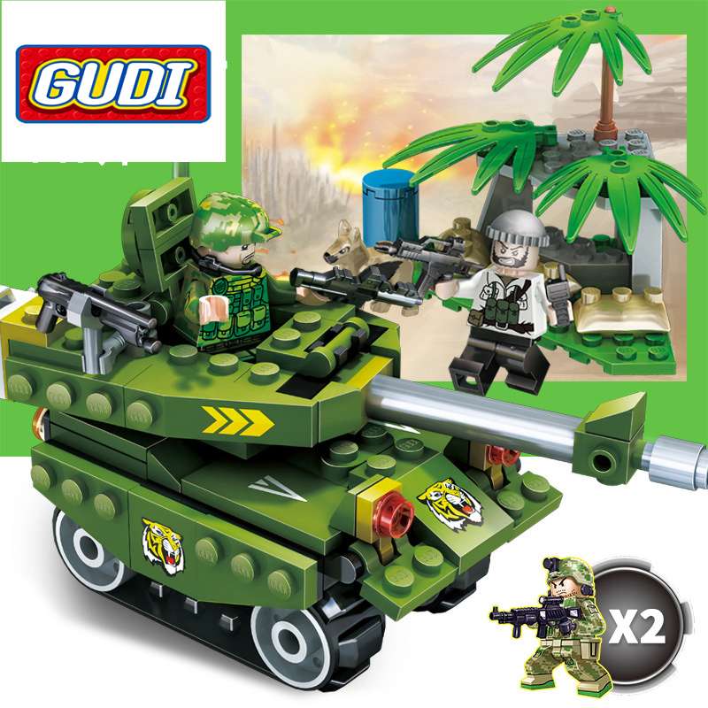GUDI Models Building toy Compatible with Lego G8017 147Pcs Tank Attack Blocks Toys Hobbies For Boys Girls Model Building Kits
