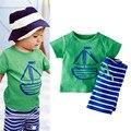2 PCS Summer Clothing Set Cartoon Boat Printed T-Shirt Stripe Shorts Children Baby Boy Clothes Hot