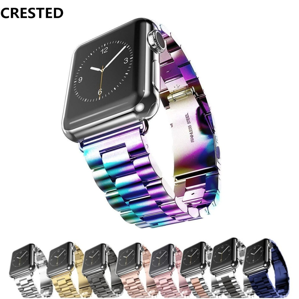 CRESTED Sport Strap For Apple Watch Band 38mm 42mm Iwatch 3 2 1 Stainless Steel Wrist band Link bracelet Watch band Strap crested sport band for apple watch 3 42mm 38mm strap for iwatch nike 3 2 1 wrist band bracelet silicone strap
