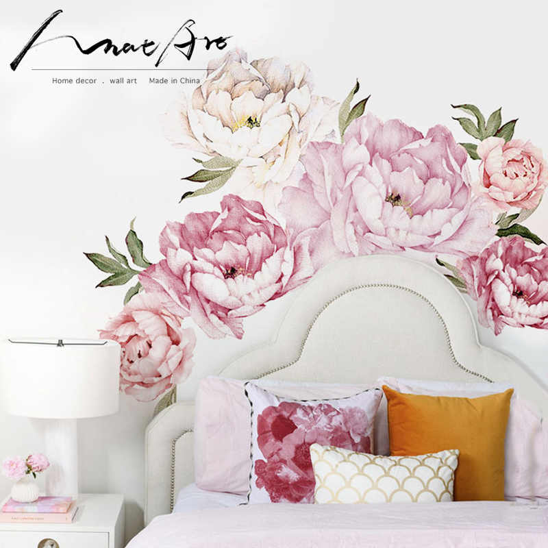 Pink modern home living room decor wall art Peony Flowers Wall Sticker Mural diy art Bedroom decoration wedding accessories
