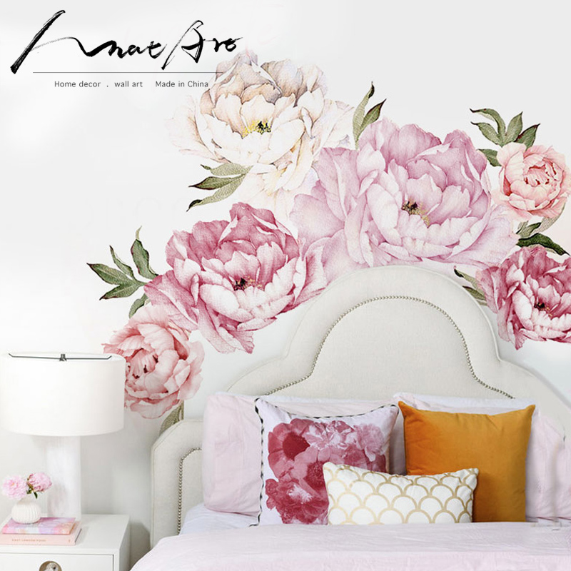 . US  16 0  Pink modern home living room decor wall art Peony Flowers Wall  Sticker Mural diy art Bedroom decoration wedding accessories in Wall  Stickers