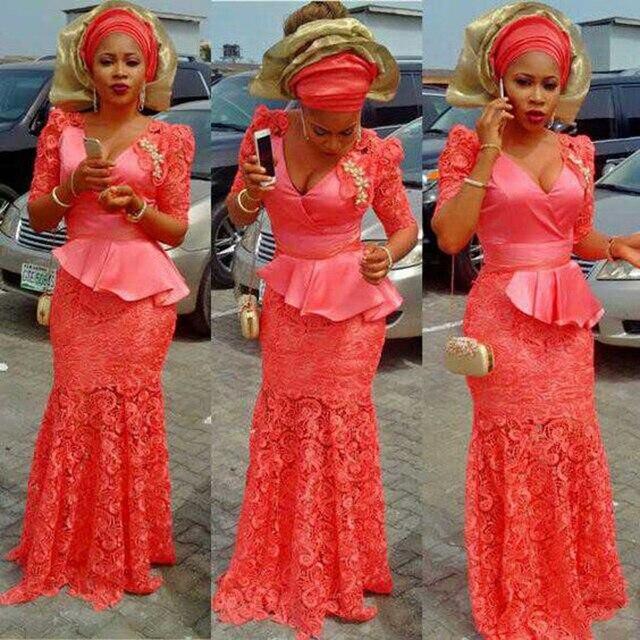 2017 Watermelon Floor Length Peplum Empire Mermaid Lace African Nigerian Evening Dresses Long Women Deep V