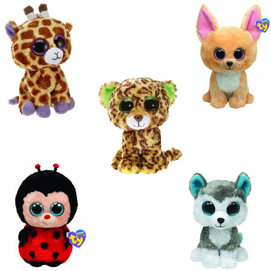 5Pcs/Lot Beanie Boos Plush Animals Plush Toys Big Eyes Soft Toys for Children christmas Kids Toys (most no tags)