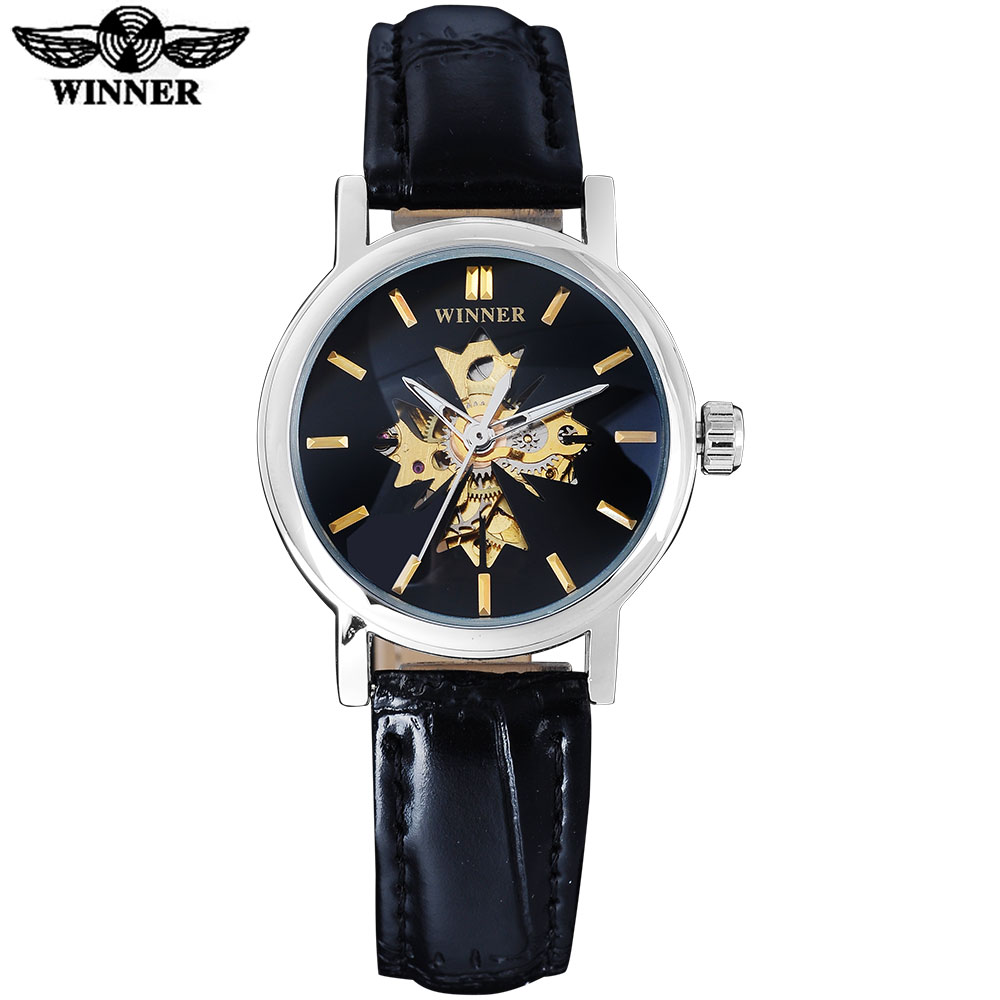 2016 WINNER china brand women watches luxury automatic self wind watch skeleton dial transparent glass silver case leather band winner brand luxury gold steel case watch women brown leather band rhinestone dial skeleton automatic mechanical wrist watches