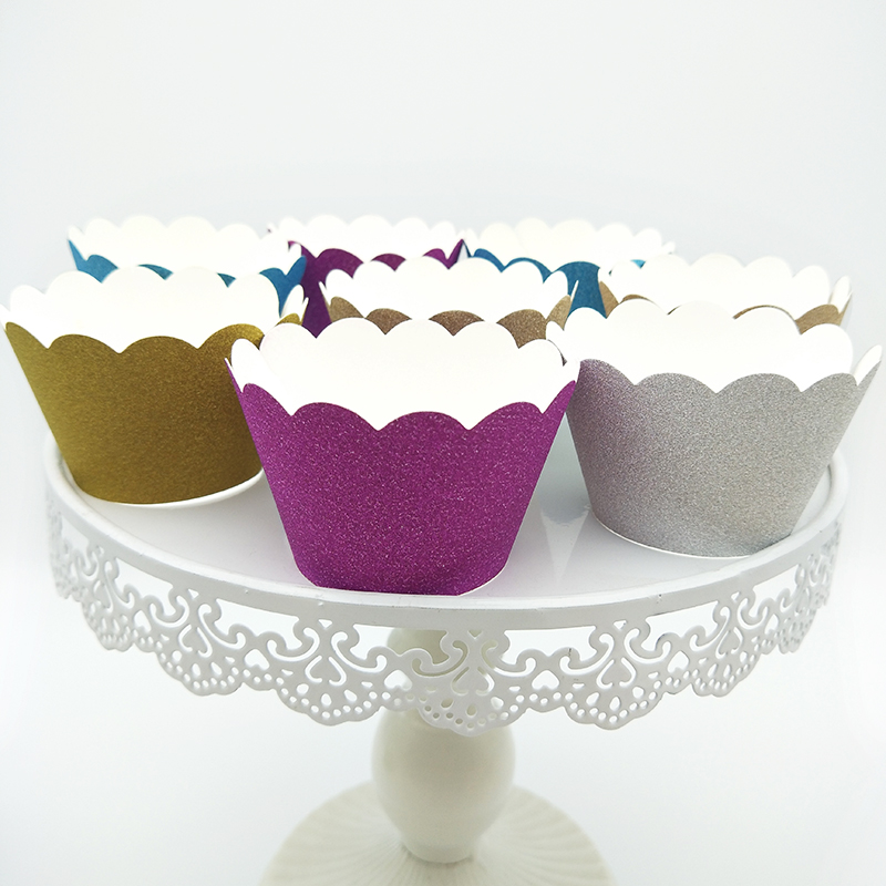 24pcs Glitter Cupcake Wrapper Rose Gold Silver Blue Purple