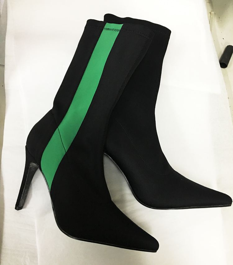 2018 Hot Pointy Toe High Heel Boots Stretch Fabric Women Green Stripe Ankle Boots Sexy Ladies Slip On Stiletto Boots Size 41 deweyer yoga rally belt men ladies fitness stretch stretch force strength striped grass green 18 lbs