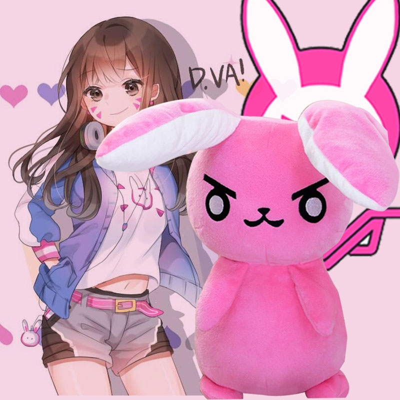 50CM Game Overwatches Pink Dva Rabbit Plush Toys The Last Bastion OW Ganymede Solf Plush Pillow Dolls Toys for Children Gifts