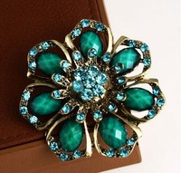 Hot sale vintage flower large blue rhinestone brooch/Korean luxury fashion jewelry women costume accessories wholesale/broches