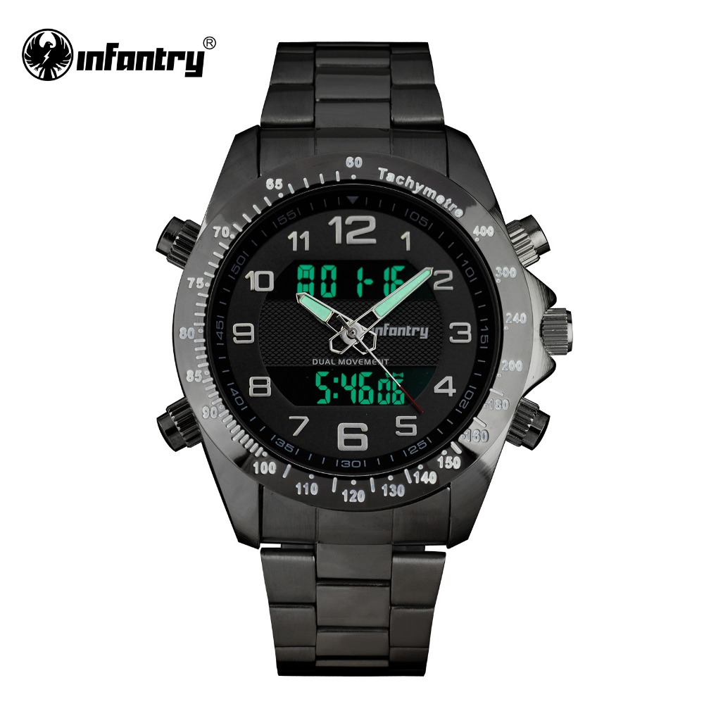 INFANTRY Sport Watch Men Digital LED Mens Watches Top Brand Luxury Military Army Black Silver Bracelet Color Relogio Masculino