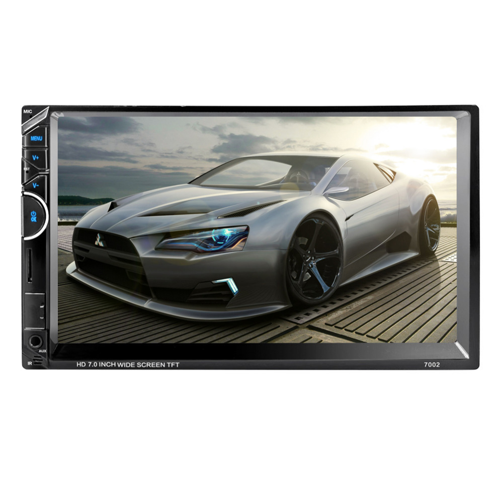 7Inch 2Din Handsfree Bluetooth Car Stereo Audio MP5 Player without Camera AM/RDS Radio Function Remote Control with SD/MMC 7002 car mp5 player with rearview camera gps navigation 7 inch touch screen bluetooth audio stereo fm function remote control
