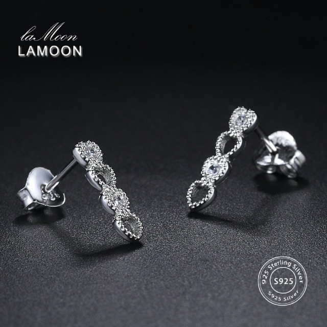 LAMOON 2018 New Lovely 4 Heart Style 100% Real 925-Sterling-Silver Stud Earrings