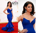 Rocsi Diaz Royal Blue Mermaid Celebrity Dresses for Prom Sexy V-Neck Front Split the 65th Emmy Awards Red Carpet Evening Dress
