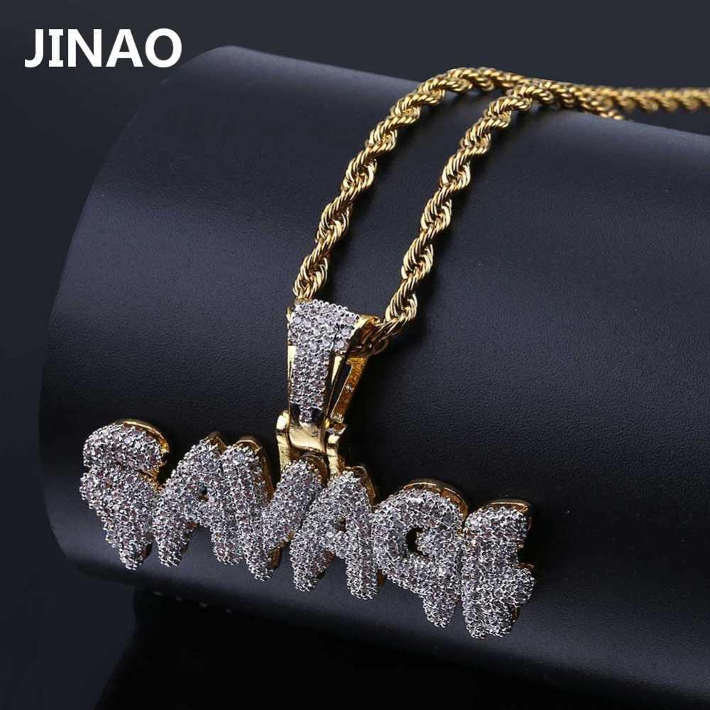 Jinao masculino congelado para fora selvagem pingente colar banhado a cor do ouro micro pavimentar aaa zircão cúbico hip hop gemas druzy jóias presentes