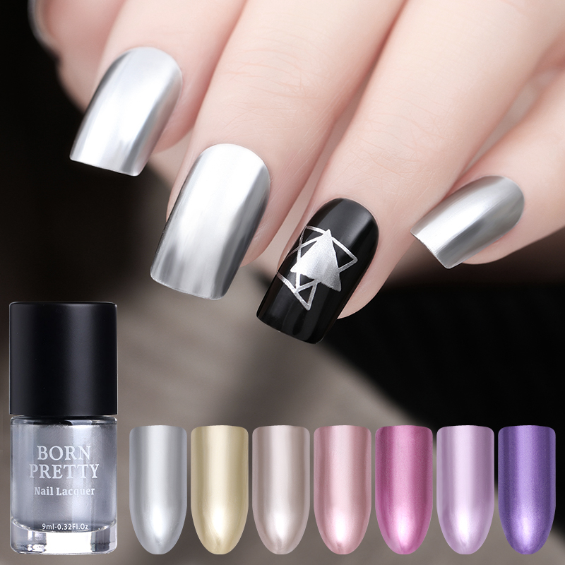 BORN PRETTY 9ml Mirror Effect Metal Nail Polish Purple Rose Gold ...