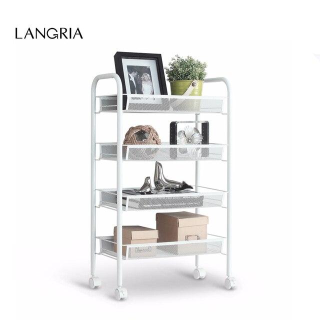 Langria 4 Tier Metal Mesh Rolling Cart Trolley Storage Holders Racks
