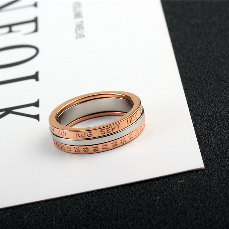 YUN RUO 2020 Rose Gold Personlighet Rotatable Number Ring for Woman - Märkessmycken - Foto 3
