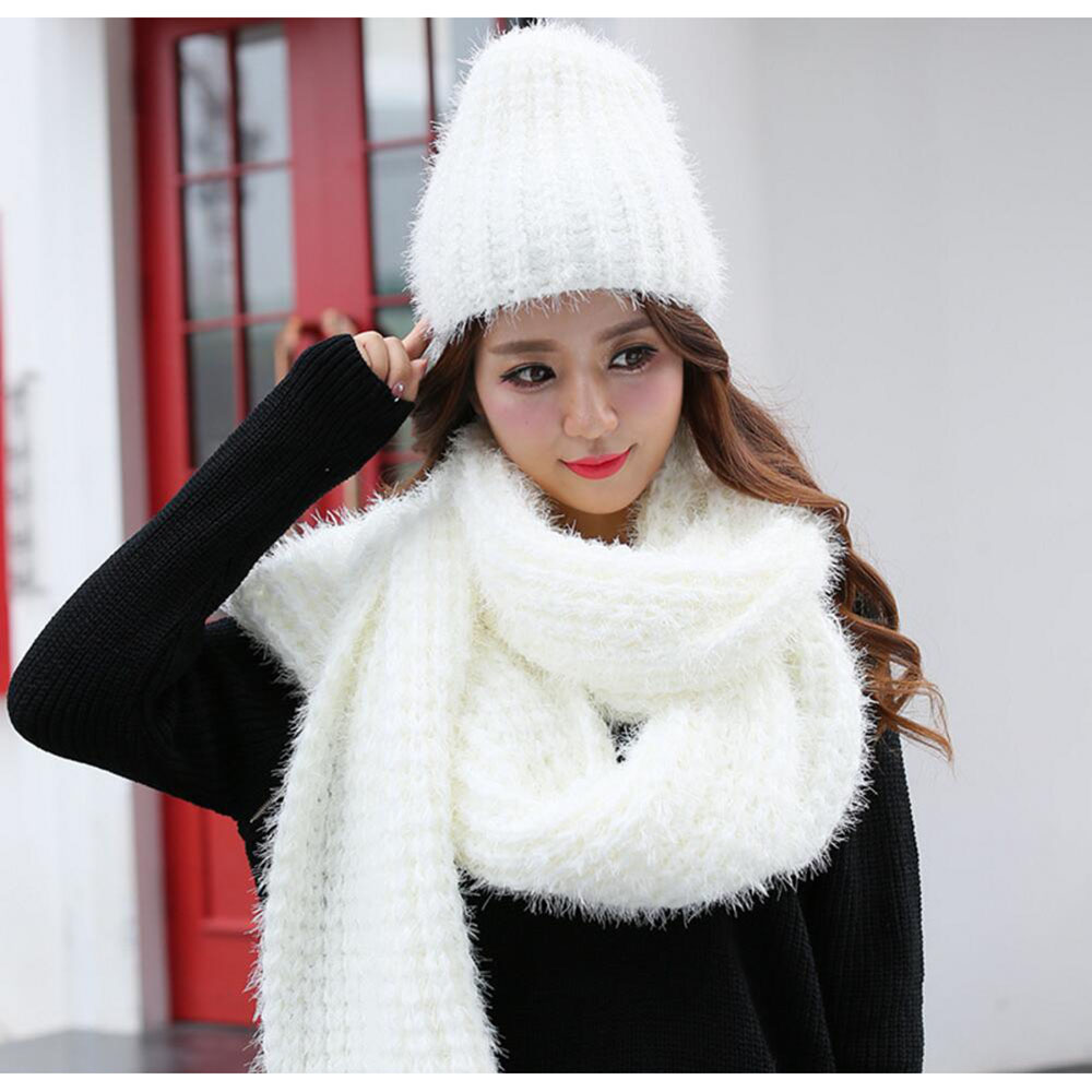 knit scarfs hat sets designer winter plain scarves caps fashion girls hat  and scarf set adults mujer thick knitted scarf plain-in Scarf 57cc2090797