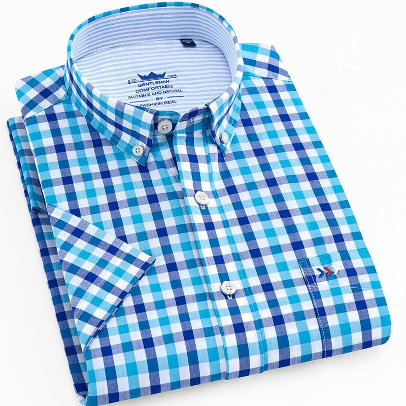 100% Wahr Dünne Sommer Männer Shirt Kurzarm Baumwolle 100% Slim Fit Solide Oxford Business Plaid Shirt Männer Tasche Formal Taste Shirt Regelmäßige