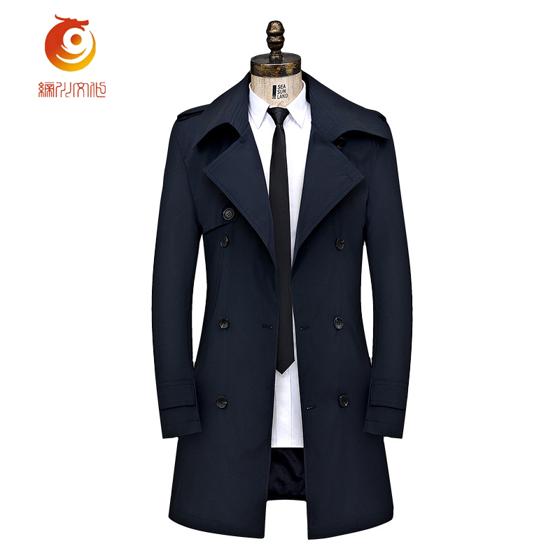Navy Blue Trench Coat Mens Overcoat Fashion New Long Trench Coat Men Double-breasted Casual Slim Fit Mens Overcoat Plus Size 4XL new men s military style casual fashion canvas outdoor camping travel hooded trench coat outerwear mens army parka long jackets