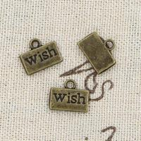 99Cents 12pcs Charms wish 13*11mm Antique Making pendant fit,Vintage Tibetan Bronze,DIY bracelet necklace