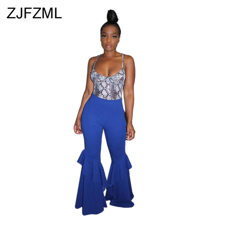 Cascading Ruffles Sexy Flare Trousers Women Fashion High Waist Full Length   Wide     Leg     Pant   Casual Bodycon Bell-Bottomed Pantalons