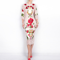 High quality New 2017 spring summer runway brand fashion women sexy lace dress floral rose embroidery elegant mid calf dresses