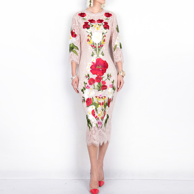 High quality New 2017 spring summer runway brand fashion women sexy lace dress floral rose embroidery elegant mid-calf dresses