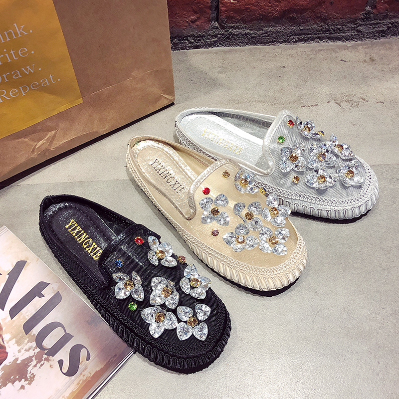 Summer Beach Slippers 2019 New Women Slippers Fashion Applique Breathable Mesh Mules Casual Slippers