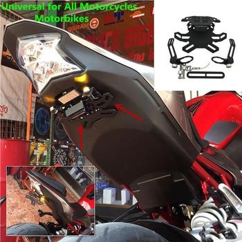 Para Honda CBR250R CBR 250 R 2011-2015 2012 ajustable CNC acero registro LED Marco de placa de matrícula soporte de soporte