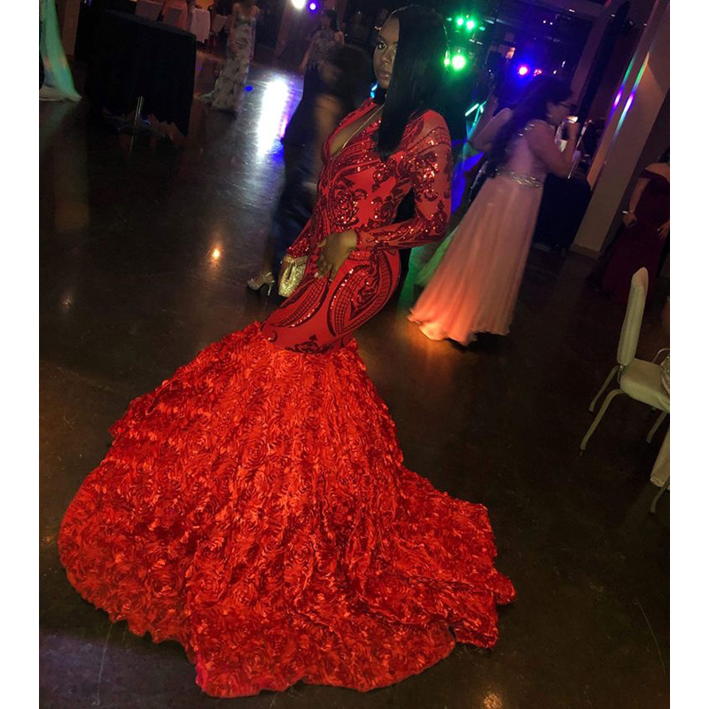 Long Sleeve Prom Dresses 2019: Sparkly Sequined Red Mermaid Prom Dresses 2019 New Long