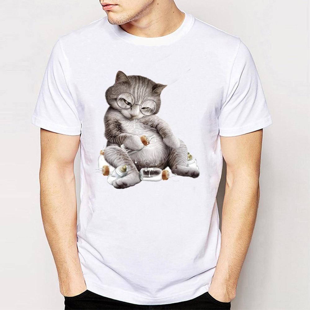 2017 Nuova Estate Uomini Di Modo Manica Corta T Shirt Ubriaco Gatto