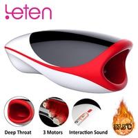 Leten Blowjob Heating Male Masturbator For Man 10 Modes Vibrator For Men Interaction Sound Oral Sex Toys For Men Mastubatings