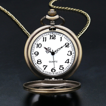2017 Vintage Bronze Quartz Pocket Watch Rose Necklace Relogio De Bolso
