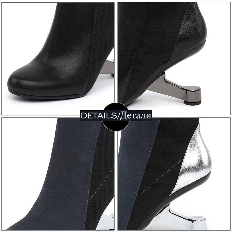 WETKISS Unusual High Heels Ankle Women Boots Round Toe Stitching Footwear Leather Party Female Boot Shoes Woman Autumn 2018 New