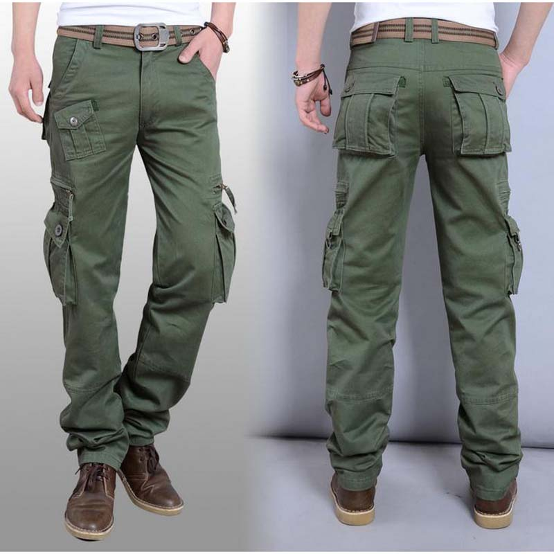 Spring Summer Casual pant Mens Lightweight Pure cargo pants Losse Plus 38 40 Size Cotton overalls overall Man Bottoms Trousers
