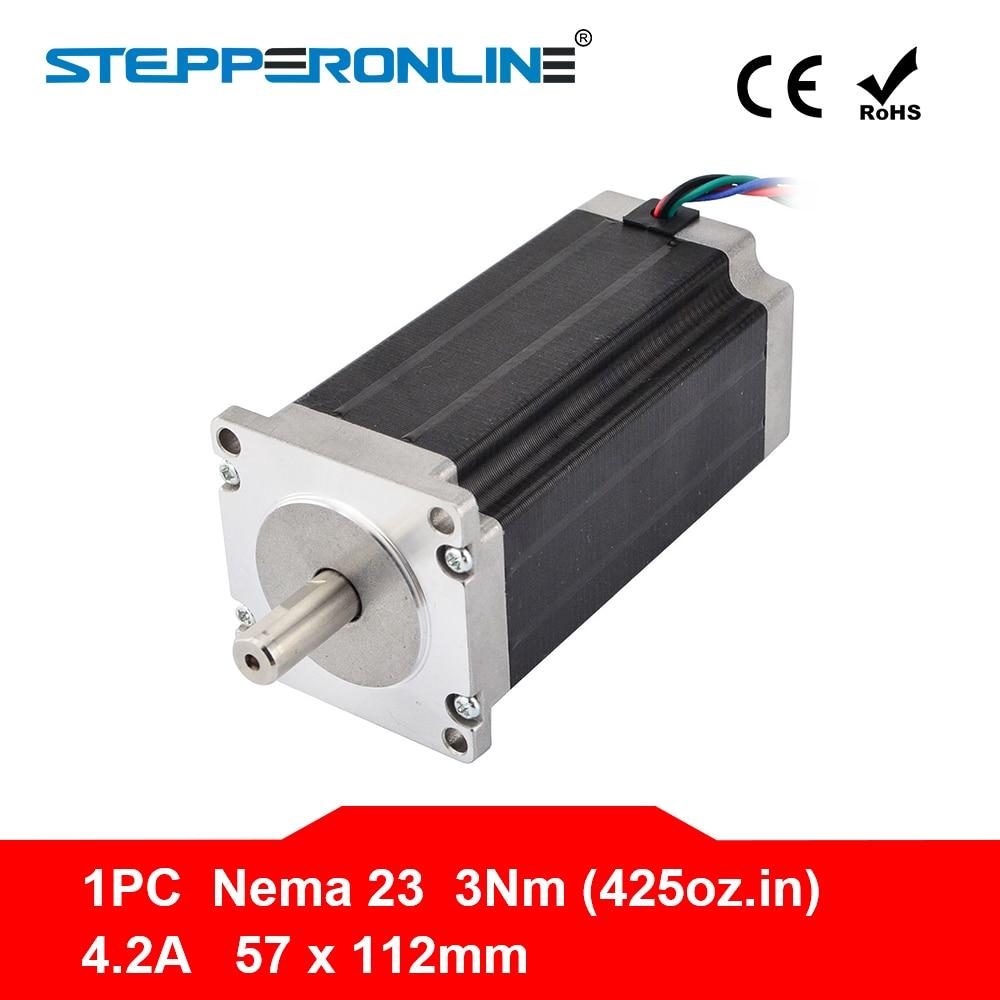 Nema 23 Stepper Moteur 57x113mm 3Nm/425oz. dans 4.2A 4-plomb Nema23 Moteur Pas À Pas pour 3D Imprimante/CNC Gravure Fraisage Machine