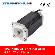 Nema 23 step Motor 57x113mm 3Nm/425oz. Çin'de 4.2A 4-lead Nema23 Step Motor 3D yazıcı/CNC gravür freze makinesi(China)