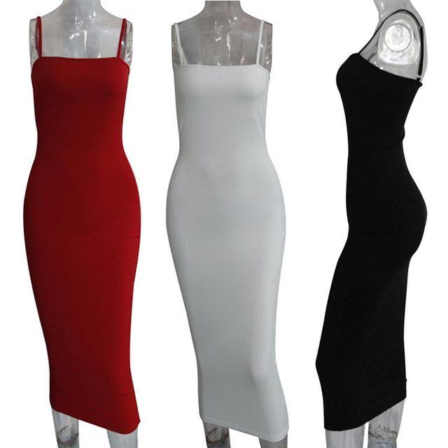 Forefair Sexy Spaghetti Strap Bodycon Midi Dress Women Summer Black White Red Sleeveless Basic Party Night Long Dress Autumn