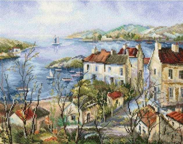 cs-2367 Cross Stitch Kit Seaside Retreat Town City Village Lake House Home rto M554