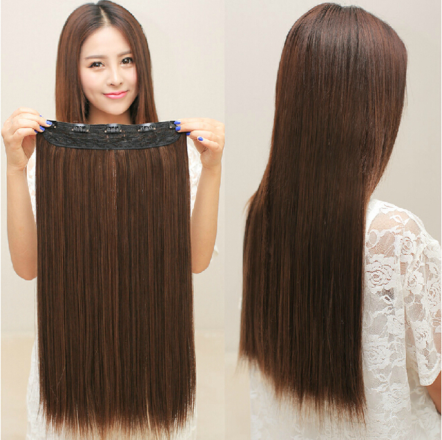 5 Clips In Hair Extensions Good Quality Synthetic Extension 1 Piece Cheap Popular Girl Women