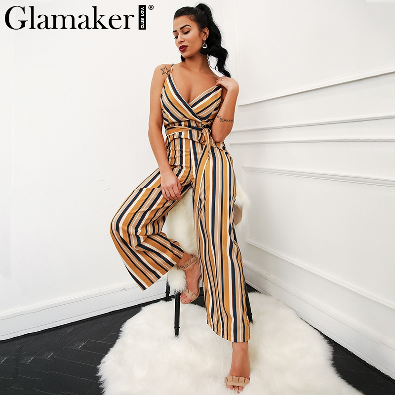 Glamaker Sexy multi stripe women jumpsuit romper Loose warp high waist summer jumpsuit playsuit Beach wide leg overalls combine