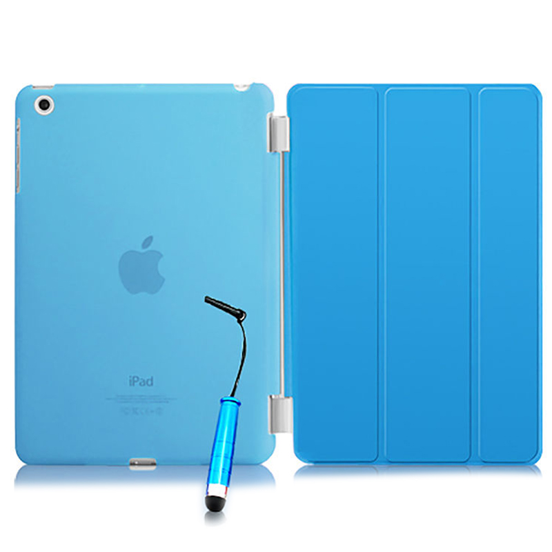 все цены на  New Smart Stand Magnetic Leather Case Cover For Apple iPad Mini 1 2 & 3  colour:Blue Translucent  онлайн