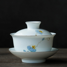 PINNY 160ml Handpainted Plum Blossom Gaiwan Traditional Chinese White Porcelain Tea Tureen Kung Fu Set Drinkware