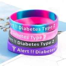 1 PC Diabetes Bracelet Insulin Dependent Medical Alert Silicone Wristband Bracelet For Diabetic Person Dropship Wholesale New