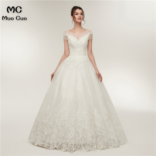 2018 In Stock US2 to US16 A-Line Gown Wedding Dresses Tulle Short Sleeve Bridal  Gowns vestido de noiva Sheer Lace Wedding Dress 6e8371ad9095