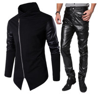 Track Suits Men Set Casual Male Winter Autumn Spring 2 Pieces Street Wear Trend Fashion Leather Jacket Pants Brand Men's Clothes